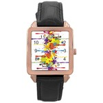 Crazy Multicolored Double Running Splashes Rose Gold Leather Watch