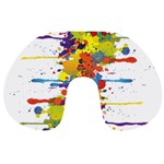 Crazy Multicolored Double Running Splashes Travel Neck Pillows