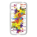 Crazy Multicolored Double Running Splashes Samsung GALAXY S4 I9500/ I9505 Case (White)
