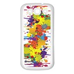 Crazy Multicolored Double Running Splashes Samsung Galaxy S3 Back Case (White)