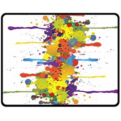 Crazy Multicolored Double Running Splashes Double Sided Fleece Blanket (medium)  by EDDArt