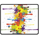 Crazy Multicolored Double Running Splashes Double Sided Fleece Blanket (Medium)
