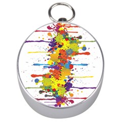 Crazy Multicolored Double Running Splashes Silver Compasses by EDDArt