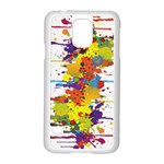 Crazy Multicolored Double Running Splashes Samsung Galaxy S5 Case (White)