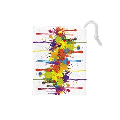 Crazy Multicolored Double Running Splashes Drawstring Pouches (small)  by EDDArt