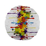 Crazy Multicolored Double Running Splashes Standard 15  Premium Flano Round Cushions