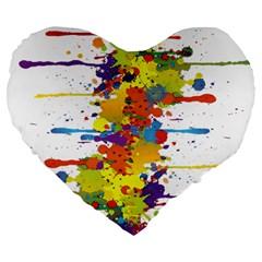 Crazy Multicolored Double Running Splashes Large 19  Premium Flano Heart Shape Cushions by EDDArt