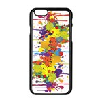 Crazy Multicolored Double Running Splashes Apple iPhone 6/6S Black Enamel Case