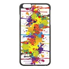 Crazy Multicolored Double Running Splashes Apple Iphone 6 Plus/6s Plus Black Enamel Case by EDDArt