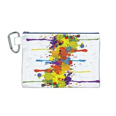 Crazy Multicolored Double Running Splashes Canvas Cosmetic Bag (m) by EDDArt