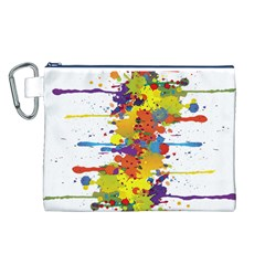 Crazy Multicolored Double Running Splashes Canvas Cosmetic Bag (l) by EDDArt