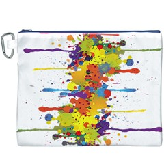 Crazy Multicolored Double Running Splashes Canvas Cosmetic Bag (xxxl) by EDDArt