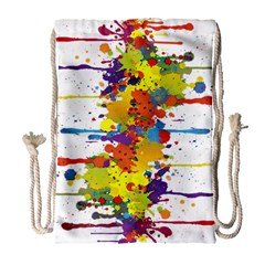 Crazy Multicolored Double Running Splashes Drawstring Bag (large) by EDDArt