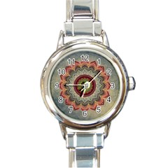 Folk Art Lotus Mandala Dirty Blue Red Round Italian Charm Watch by EDDArt