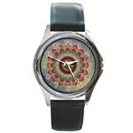 Folk Art Lotus Mandala Dirty Blue Red Round Metal Watch