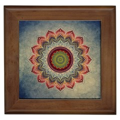 Folk Art Lotus Mandala Dirty Blue Red Framed Tiles by EDDArt