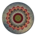 Folk Art Lotus Mandala Dirty Blue Red Round Mousepads