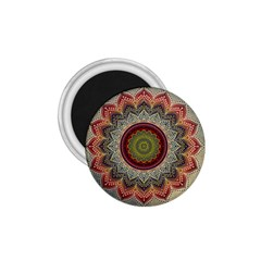 Folk Art Lotus Mandala Dirty Blue Red 1 75  Magnets by EDDArt