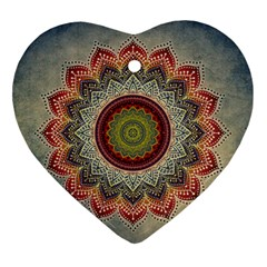 Folk Art Lotus Mandala Dirty Blue Red Ornament (heart)  by EDDArt