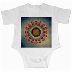 Folk Art Lotus Mandala Dirty Blue Red Infant Creepers by EDDArt