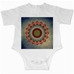 Folk Art Lotus Mandala Dirty Blue Red Infant Creepers