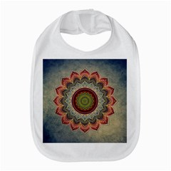 Folk Art Lotus Mandala Dirty Blue Red Bib by EDDArt