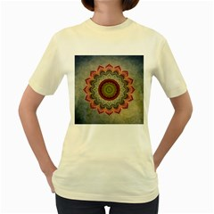 Folk Art Lotus Mandala Dirty Blue Red Women s Yellow T Shirt by EDDArt