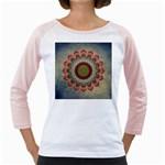 Folk Art Lotus Mandala Dirty Blue Red Girly Raglans