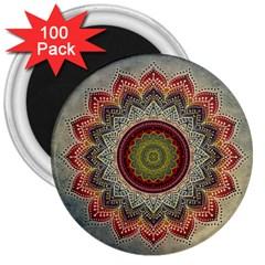 Folk Art Lotus Mandala Dirty Blue Red 3  Magnets (100 Pack) by EDDArt