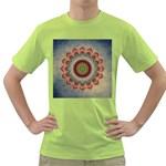 Folk Art Lotus Mandala Dirty Blue Red Green T-Shirt
