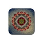 Folk Art Lotus Mandala Dirty Blue Red Rubber Square Coaster (4 pack)