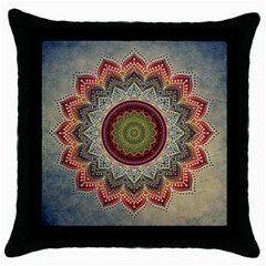 Folk Art Lotus Mandala Dirty Blue Red Throw Pillow Case (black) by EDDArt