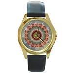 Folk Art Lotus Mandala Dirty Blue Red Round Gold Metal Watch