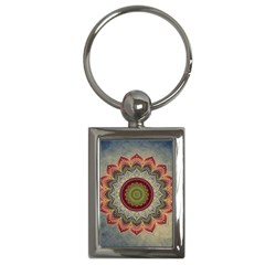 Folk Art Lotus Mandala Dirty Blue Red Key Chains (rectangle)  by EDDArt
