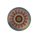 Folk Art Lotus Mandala Dirty Blue Red Rubber Coaster (Round)