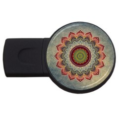Folk Art Lotus Mandala Dirty Blue Red Usb Flash Drive Round (2 Gb)  by EDDArt