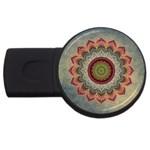 Folk Art Lotus Mandala Dirty Blue Red USB Flash Drive Round (2 GB)