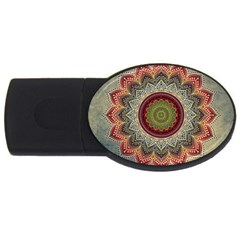 Folk Art Lotus Mandala Dirty Blue Red Usb Flash Drive Oval (2 Gb)  by EDDArt
