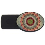 Folk Art Lotus Mandala Dirty Blue Red USB Flash Drive Oval (2 GB)