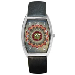 Folk Art Lotus Mandala Dirty Blue Red Barrel Style Metal Watch by EDDArt
