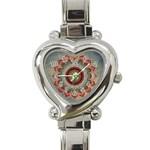 Folk Art Lotus Mandala Dirty Blue Red Heart Italian Charm Watch