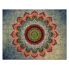 Folk Art Lotus Mandala Dirty Blue Red Rectangular Jigsaw Puzzl by EDDArt