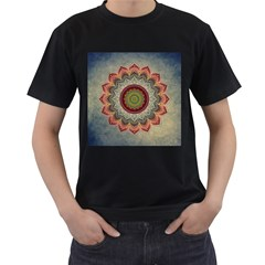 Folk Art Lotus Mandala Dirty Blue Red Men s T Shirt (black) (two Sided) by EDDArt