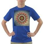 Folk Art Lotus Mandala Dirty Blue Red Dark T-Shirt