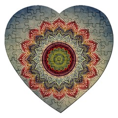 Folk Art Lotus Mandala Dirty Blue Red Jigsaw Puzzle (heart) by EDDArt
