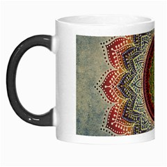 Folk Art Lotus Mandala Dirty Blue Red Morph Mugs by EDDArt