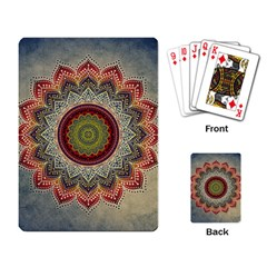 Folk Art Lotus Mandala Dirty Blue Red Playing Card by EDDArt