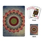 Folk Art Lotus Mandala Dirty Blue Red Playing Card