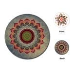 Folk Art Lotus Mandala Dirty Blue Red Playing Cards (Round)