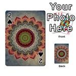Folk Art Lotus Mandala Dirty Blue Red Playing Cards 54 Designs